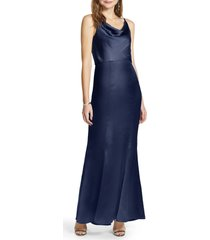 women's chi chi london marissa cowl neck satin trumpet gown, size 6 - blue