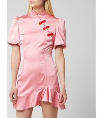 de la vali women's bluebell silk satin short dress - pink - uk 12