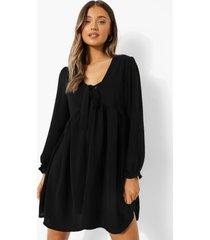 gesmokte jurk met strik, black