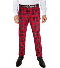 tommy hilfiger men's modern-fit th flex stretch tartan performance pants