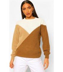 lang gebreide trui met colourblocking, geelbruin
