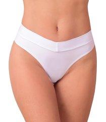 calcinha vip lingerie poliamida cós e fio duplo branco