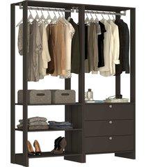 guarda roupa closet 2 peã§as c/ 2 cabideiros 3 gavetas e 4 nichos yes nova mobile preto - cinza - dafiti