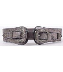 cinturon elastico doble hebilla plata mailea
