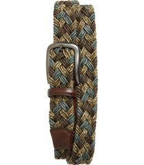 men's big & tall torino braided cotton belt, size 46 - brown/ taupe