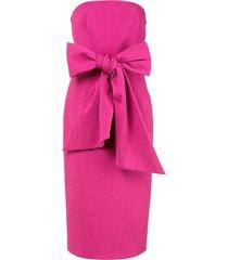 rebecca vallance andie tie-waist strapless cloqué midi dress - pink