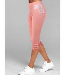 lace insert button tab capri leggings