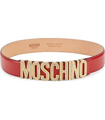 embellished logo leather belt