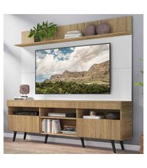 """rack com painel tv 65"""" madri multimóveis rustic/branco com prateleira e pés retrô preto"""