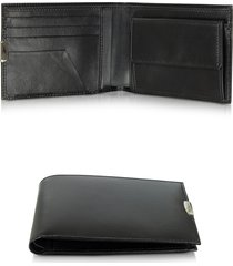 pineider designer men's bags, 1949 black leather men's wallet w/coin pocket