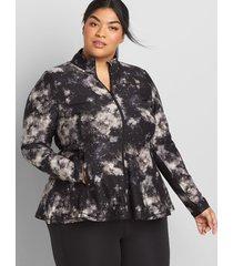 lane bryant women's livi zip-front peplum jacket with wicking 22/24 galactic texture