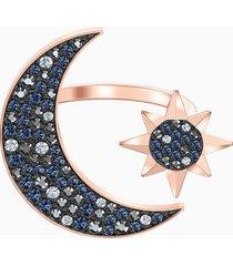 anello swarovski symbolic moon, multicolore, placcato oro rosa