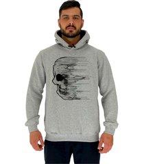 blusa moletom masculino alto conceito caveira wind mescla - cinza - masculino - dafiti