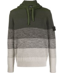 stone island shadow project striped knitted hoodie - green