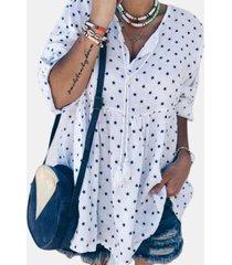 camicetta casual da donna con scollo a v stampa stelle
