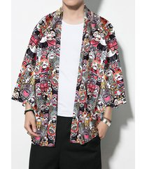 hombres casual loose fit all over print cartoon print kimono sunscreen cardigan