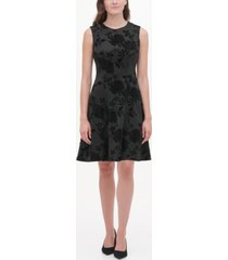 tommy hilfiger velvet-flocked shadow floral scuba dress