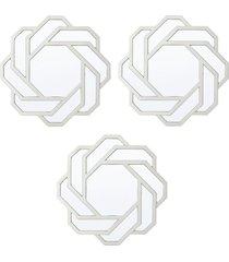 conjunto 3 royal espelhos de parede incolor - prata - dafiti