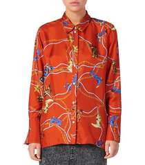 sandro women's boots silk collared shirt - red - size 3 (l)