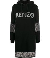 kenzo mesh-insert hooded sweatshirt dress - black