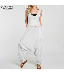 zanzea mujeres compruebe la caída de la tela escocesa de la entrepierna harem el traje de peto bib pantalones de carga de signo más (no incluye el interior y camisa) -blanco
