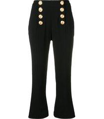 balmain decorative buttons cropped trousers - black