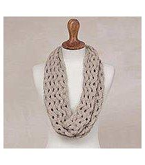 alpaca blend infinity scarf, 'stylish trend in taupe' (peru)