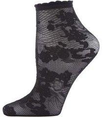 natori scarlet lace sheer shortie socks, women's