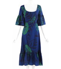 borgo de nor blue leaf print scoop neck bell sleeve dress blue/green/floral print sz: l
