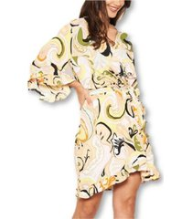 ax paris printed wrap over dress