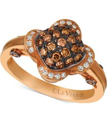 le vian chocolatier diamond cluster ring (1/2 ct. t.w.) in 14k rose gold