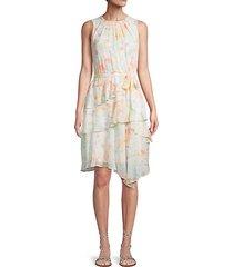 floral-print sleeveless a-line dress