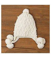 100% alpaca hat, 'diamond elegance in alabaster' (peru)