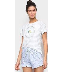 pijama cor com amor shorts doll listras e flores feminino - feminino