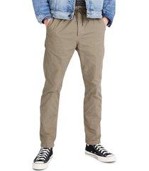 men's madewell garment dye twill drawstring pants, size x-large - green