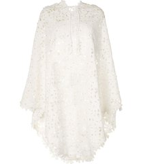 bambah lace crochet poncho - white