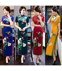 long  vintage qipao silk cheongsam chinese women's gown evening party dress
