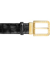 pakerson designer men's belts, ripa black alligator leather belt w/ gold buckle