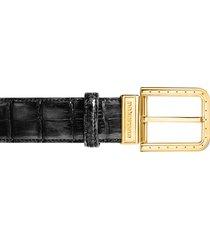 pakerson designer men's belts, ripa black alligator leather belt w/ gold buckle