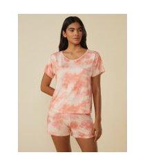 amaro feminino short pijama tie dye, colorido