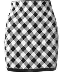 balmain short hw gingham jacquard skirt
