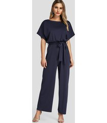 navy high-waisted wide leg jumpsuit with belt