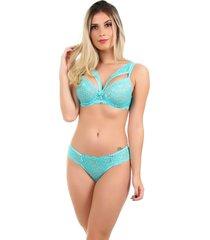 conjunto imi lingerie com bojo e renda strappy bra vitã³ria verde turquesa - verde - feminino - renda - dafiti