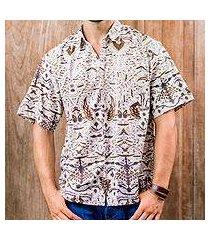 men's cotton batik shirt, 'continuous love' (indonesia)
