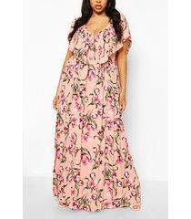 plus bloemen maxi jurk met ruches, roze
