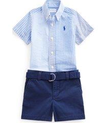 ralph lauren baby boys 3-pc. seersucker shirt, shorts & belt set