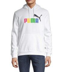 puma men's logo cotton-blend hoodie - white - size l