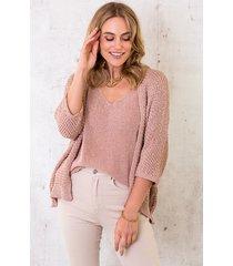 lurex vest loose fit rose gold