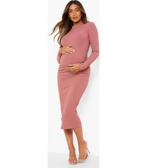 zwangerschap gerecyclede geribbelde premium midi jurk met crew neck, dusty rose