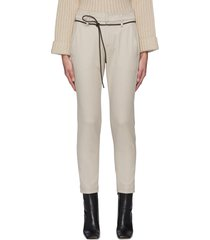 belted stretch cotton suiting pants